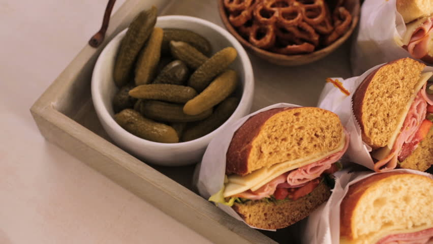 Step by step. Fresh sub sandwich on white and wheat hoagies.   Shutterstock HD Video #21835531