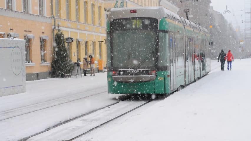 HELSINKI - JAN 09: Snowfall, Storm in winter day in Helsinki on January 09. 2016 in Finland