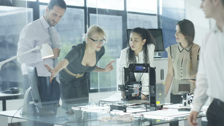 4K Scientific research engineers working in lab with computer and 3D printer (UK-Oct 2016) | Shutterstock HD Video #21852811