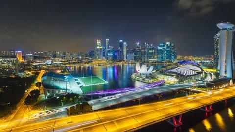 Marina Bay, Singapore - November 19, 2016: Time lapse of Marina Bay Singapore as view from Singapore Flyers