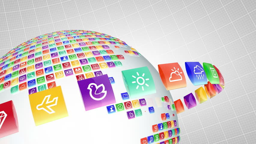 mobile application icons world lopped with alpha