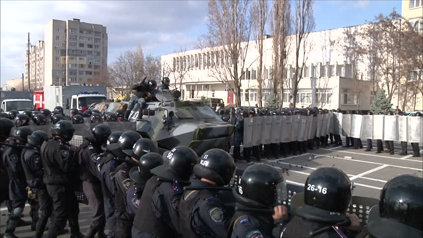 Kiev, Ukraine - March 31 : training of militia (police) to disperse mass disorders 7