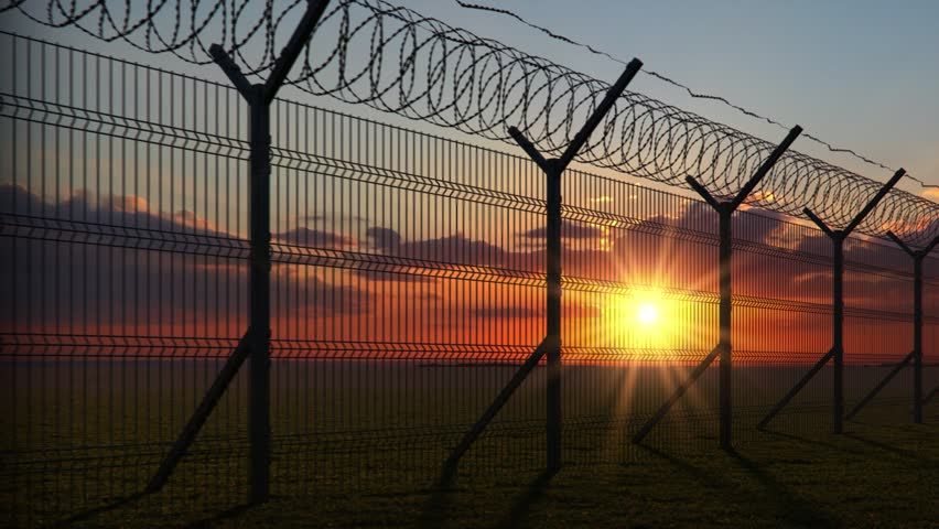 boundary fence on sunset animation looped