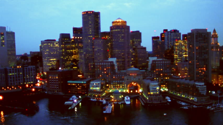 Boston, MA - CIRCA 2003 - Aerial view of Boston's waterfront (blurry in HD)