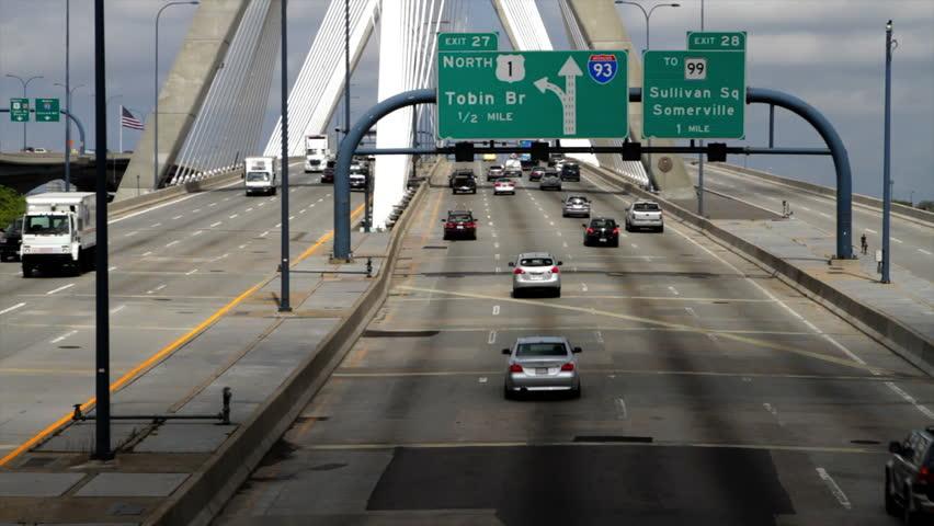 Traffic on the Modern Zakim Bunker Hill bridge in Boston.