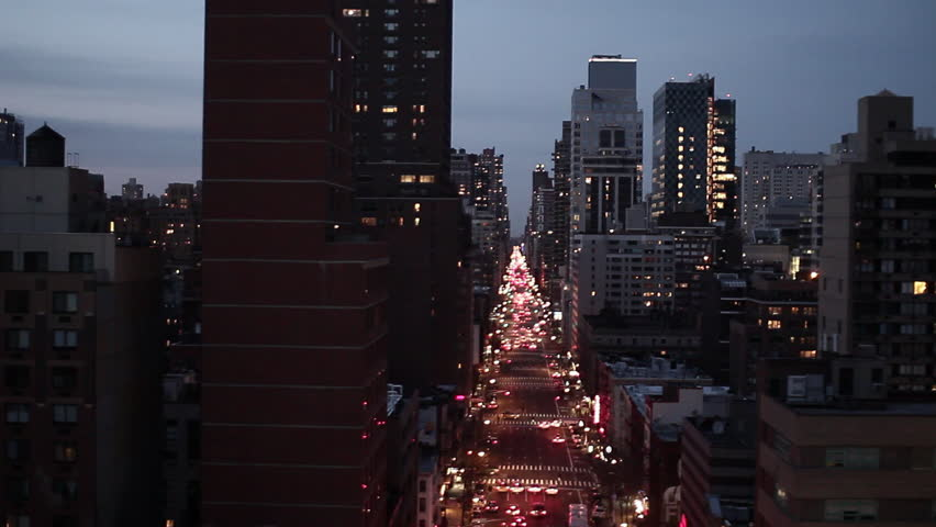NYC new york city night skyline street aerial view