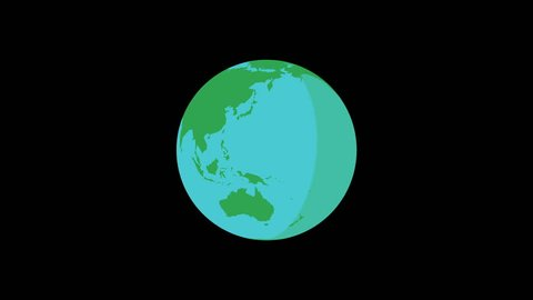 rotating earth 4K green and blue with black background - motion graphic flat design in full 4k resolution - seamless loop - 60p - make the movement faster or slower!