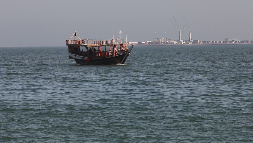 Traditional Old Wooden Cruise Dhow Boat At Doha Corniche Qatar Middle East