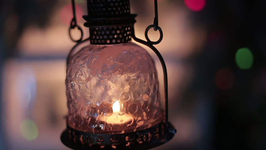 Old Paper Lit By An Ancient Antique Lantern On A W