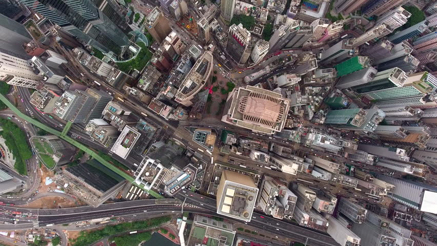 Aerial video of daily routine of business city life in skyscrapers and enterprising building with economy headquarters inside and active traffic outside district, suitable for news, films, advertising #22050631