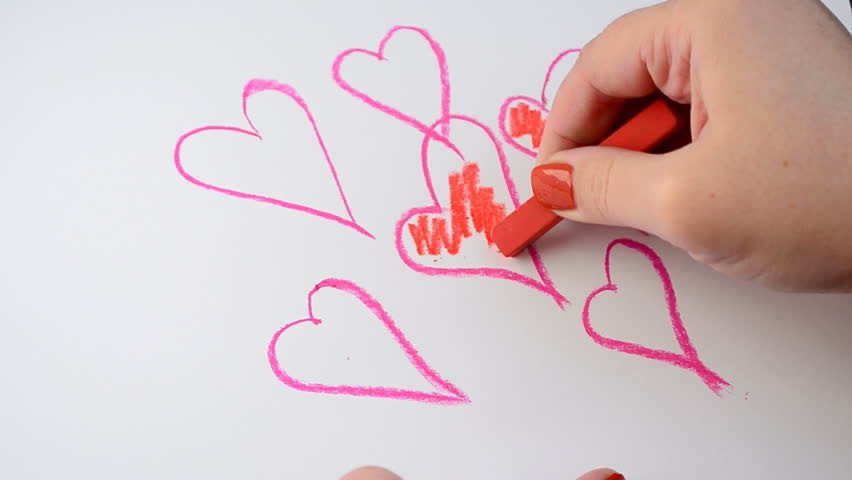 Drawing Process We Draw Valentines Stock Footage Video 100