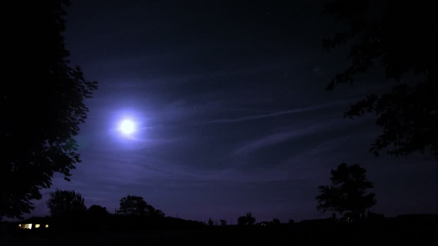 Timelapse of moon from field.