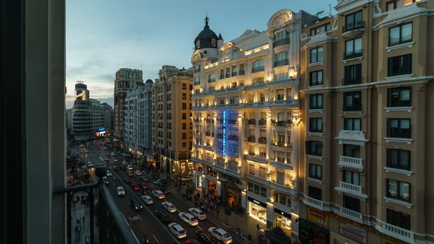 MADRID - OCTOBER, 2016. Blue hour of Gran Via street of Madrid. Time lapse shot from a hotel.
