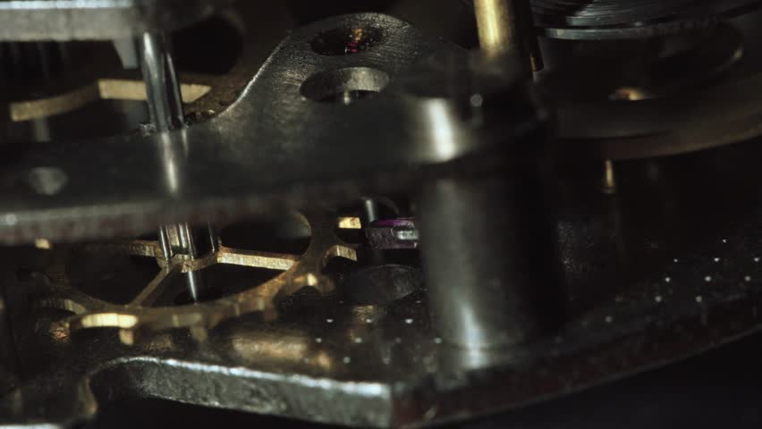 Internal clock mechanism. Macro shot