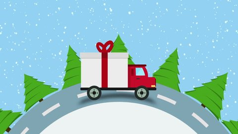 Colorful animation of Christmas and New Year greeting card with gift delivery van goes on winter road in snow at Morning loop, space for logo or text, Xmas background. Christmas Gift Delivery Concept.