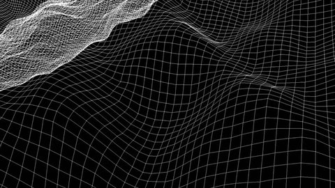 Wireframe Sea Waves  -   3D Looping Animation