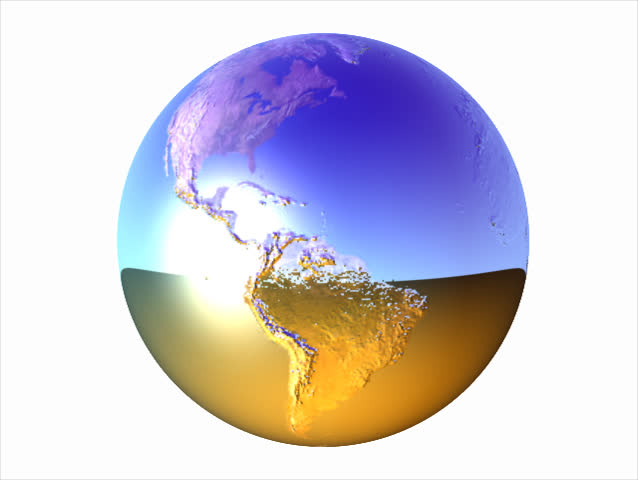 Computer-generated 3D animation loop depicting a chrome spinning Earth with alpha channel