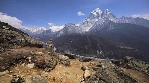 Panoramic view of Ama Dablam (6,170m) and Khumbu Valley with Kongde Ri (6,187m), Tobuche (6495m), Cholatse (6440m), Lobuche (6119m) mounts. The Khumbu's elevation ranges from 3,300m to 8,848m