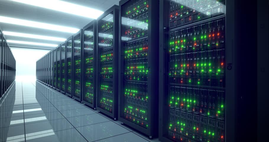 4k Data center cloud servers and storage. Web server. Racks and lights. UHD Servers in modern data center. Cloud computing and networking. Computer security footage | Shutterstock HD Video #22156471