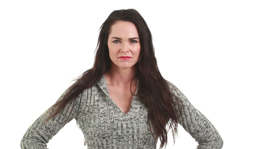 A very angry and frustrated woman. Isolated on white.
