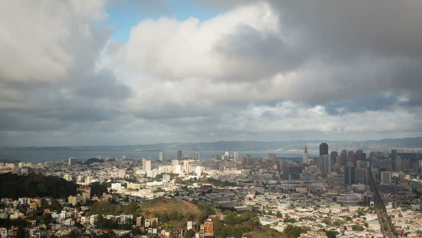 Time Lapse of morning clouds moving over San Francisco. - HD stock footage  clip