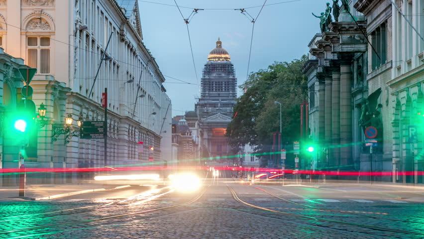 Brussels Belgium Time Lapse Street Night