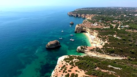 Aerial view of the Algarve Coast between Praia da Marinha beach and  Nossa Senhora da Rocha beach, Algarve south of Portugal