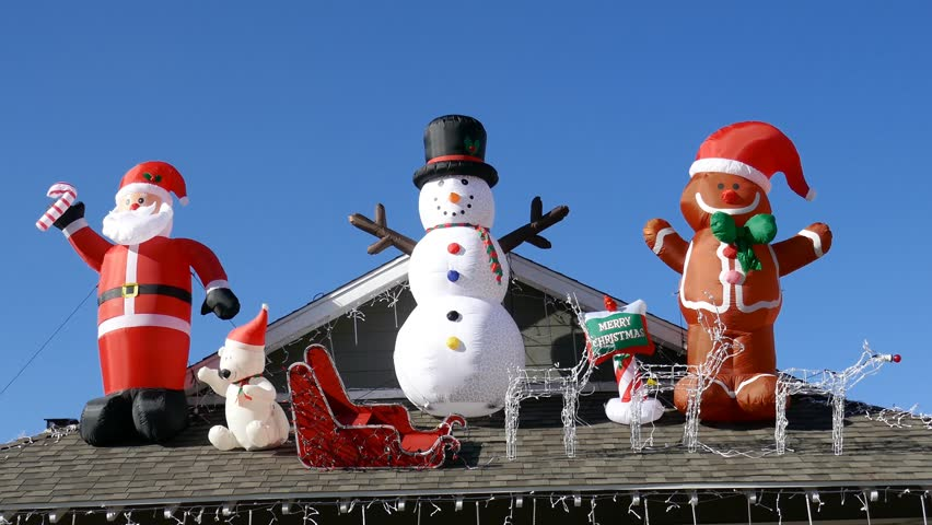Beautiful christmas decoration of American style house, saw at Los Angeles