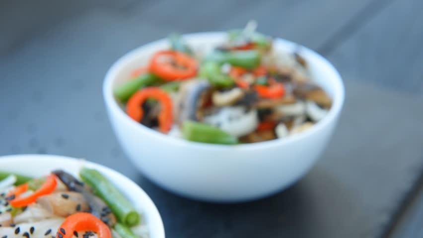 Spicy roasted teriyaki mushrooms and asparagus soba noodles