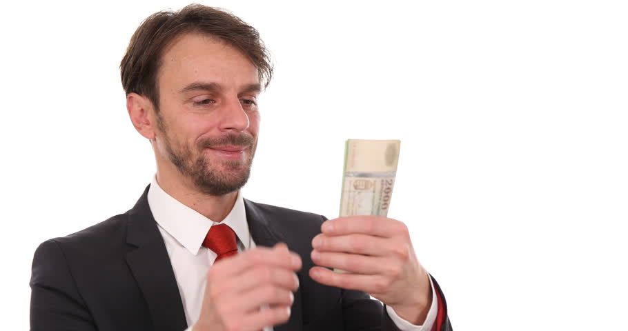 Businessman Show Counting Hungarian Forint Banknotes Money Payday Salary Concept. Ultra High Definition, UltraHD, Ultra HD, UHD, 4K, 2160P, 4096x2160