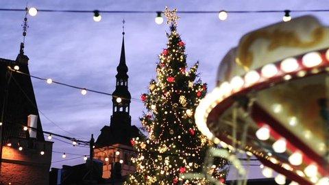 Video of merry-go-round in the center of Tallin, Estonia