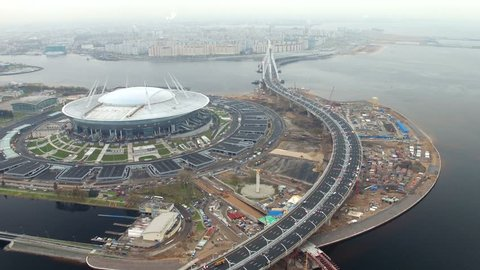 Aerial view of the stadium Zenit arena, most expensively in the world, FIFA World Cup 2018 and Western High-Speed Diameter WHSD big construction site