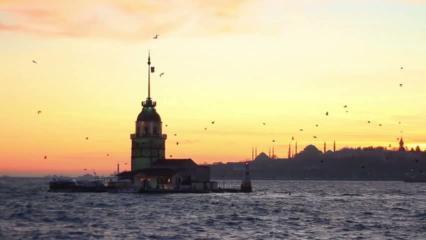 Istanbul from Salacak coast. Maidens Tower, Mosques and Ottoman palace are in the distance