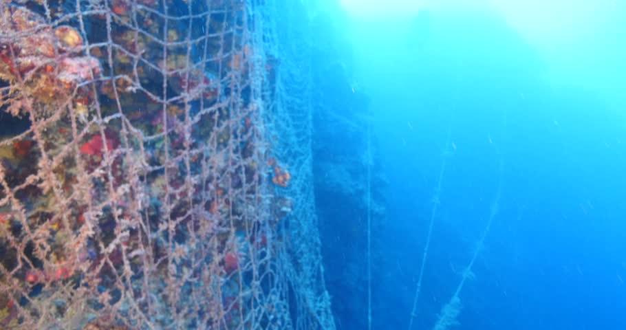 Ghost hunting fish net so big underwater fisherman | Shutterstock HD Video #22354279