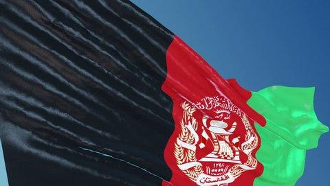 Afganistan Flag Waving. 3d render. Seamless Loop
