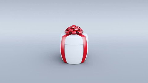 White gift box opening. Cylindrical shape. Alpha channel and camera tracking markers included. 4K
