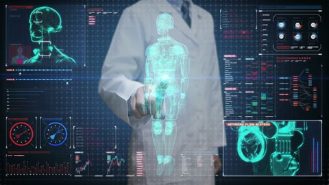 Doctor touching digital screen, Scanning semi transparency robot cyborg body in digital interface. artificial intelligence.