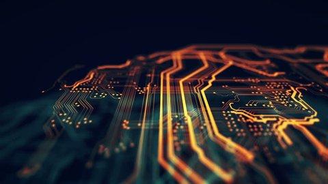 Orange, green technology background circuit board and code. 3d Illustration/Orange,  green technology background