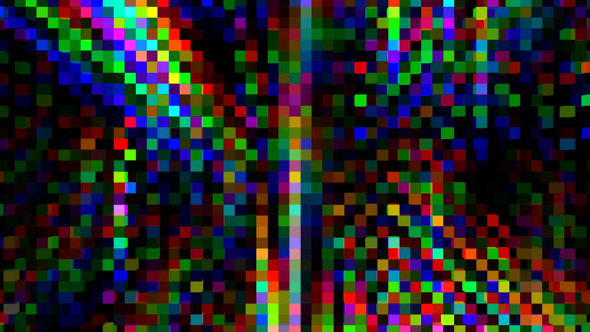 Flowing Glitchy Pixels Splitting to RGB. Retro 8-Bit Style