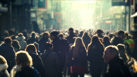 COLOGNE, GERMANY, DEC 2016: Crowded pedestrian Zone in the City, People / Crowd Christmas Shopping, Hohe Strasse, Light Leaks, Slow Motion, Day