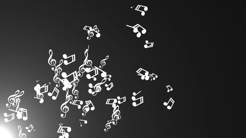 Musical notes float. Abstract background with flares