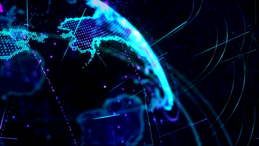 3d animation of a growing network across the world - blue version. HD