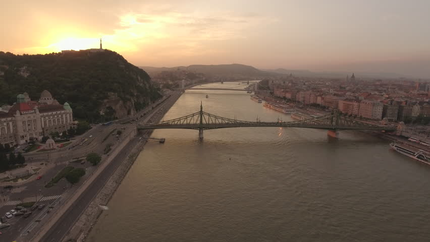 Aerial view of Budapest at sunset - Danube river and bridges, June 2016: Hungary   Shutterstock HD Video #22512781