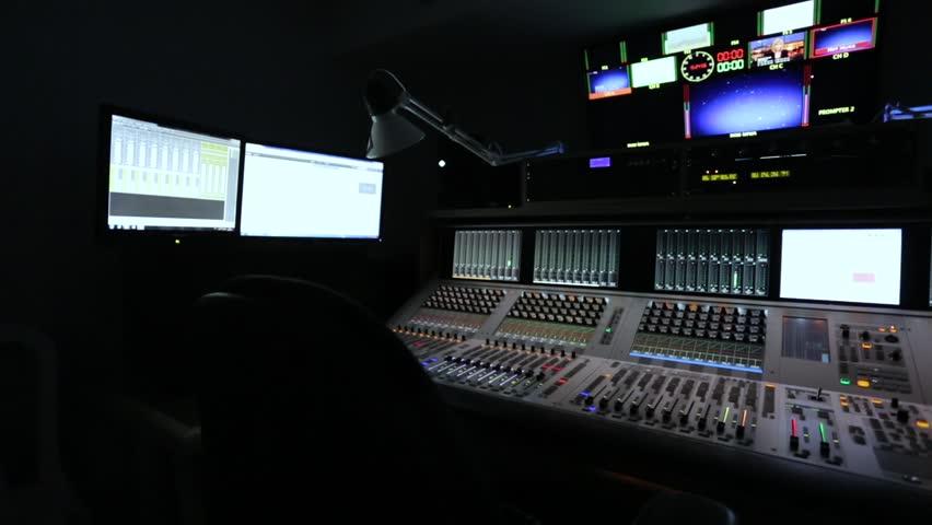 Broadcast Tv Studio Production - Music Recording Studio, Audio mixer - Dolly Moving Right   Shutterstock HD Video #22525846