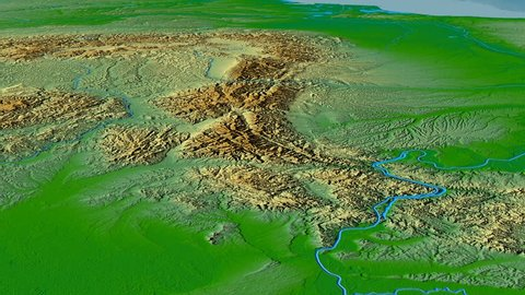 Glide over Transylvanian Alps mountain range - masks. Colored physical map. High resolution ASTER GDEM data textured