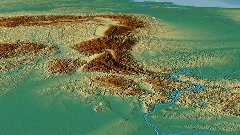 Glide over Transylvanian Alps mountain range - masks. Relief map. High resolution ASTER GDEM data textured