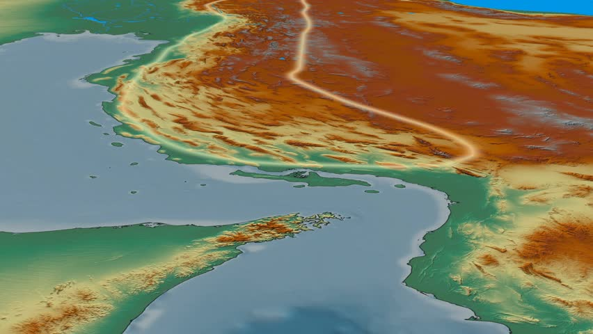 Glide over Zagros mountain range - glowed. Relief map. High resolution ASTER GDEM data textured