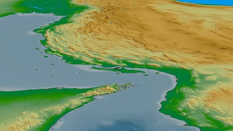 Glide over Zagros mountain range - masks. Colored physical map. High resolution ASTER GDEM data textured