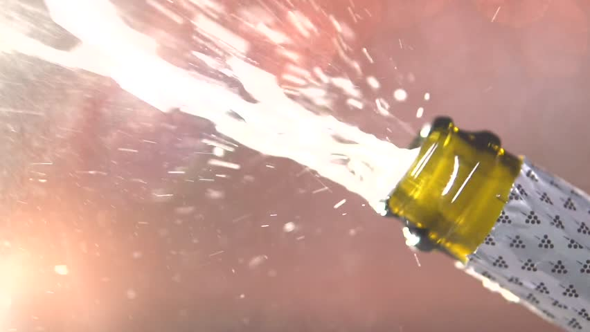 Opening champagne bottle closeup. Sparkling Wine over Holiday Bokeh Blinking Background. Slow motion 240 fps.. Full HD 1080p.  | Shutterstock HD Video #22569307