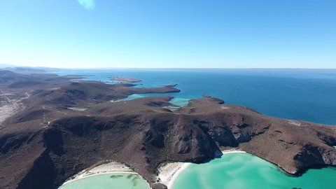 Aerial views from Balandra beach, Baja California Sur, Mexico.